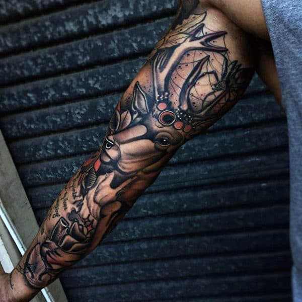 Guy With Awesome Spider Themed Tattoo Sleeve