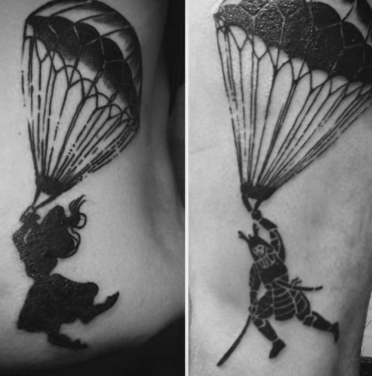 Guy With Back Samuari Parachute Tattoo Design
