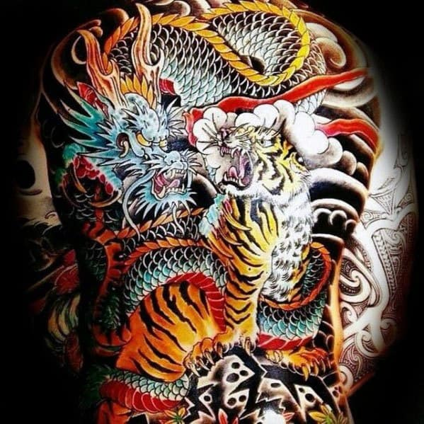 Guy With Back Tiger Dragon Tattoo Design