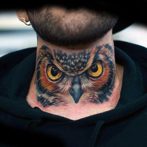 Guy With Badass Owl Neck Tattoo