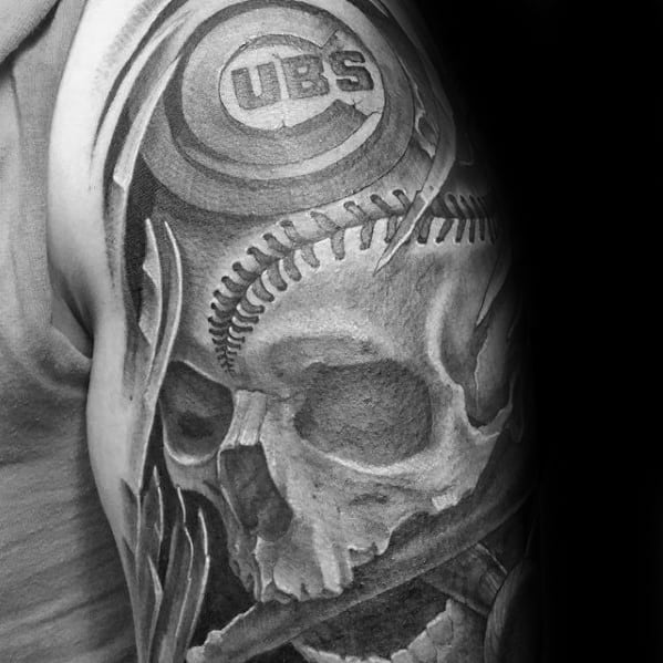 Guy With Baseball Skull Chicago Cubs Arm Sleeve Tattoos