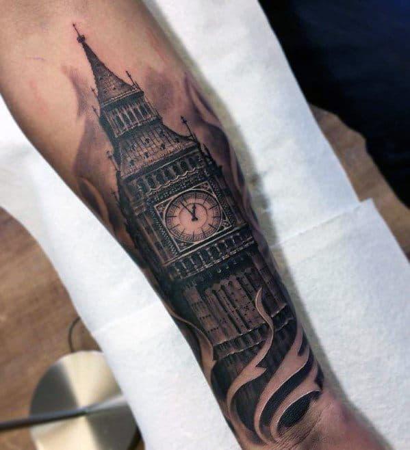 Guy With Big Ben Tattoo Design