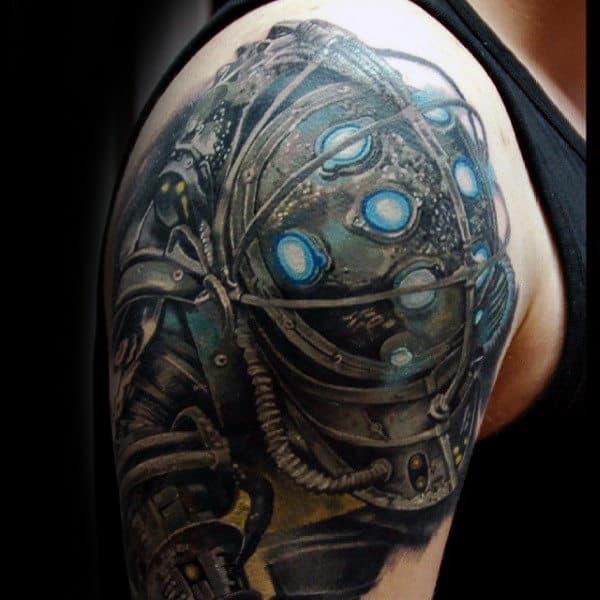 Guy With Bioshock Upper Arm Tattoo