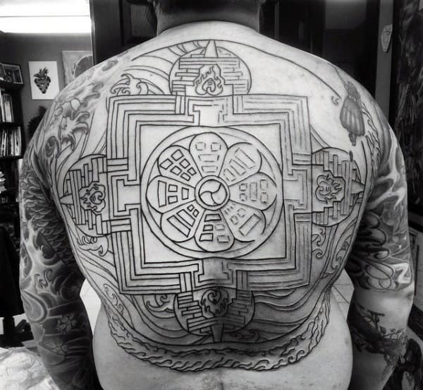 Guy With Black Buddhism Drawings Tattoo On Whole Back