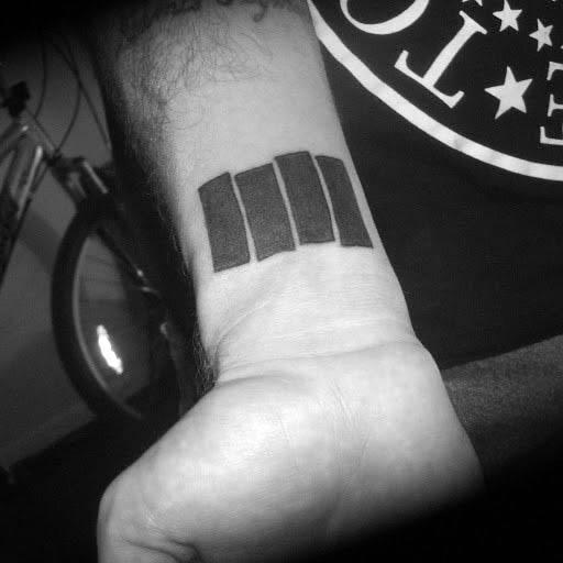 Guy With Black Flag Wrist Tattoo Design