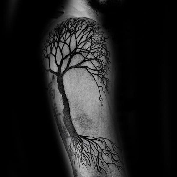 Guy With Black Ink Arm Tree Of Life Tattoo Design