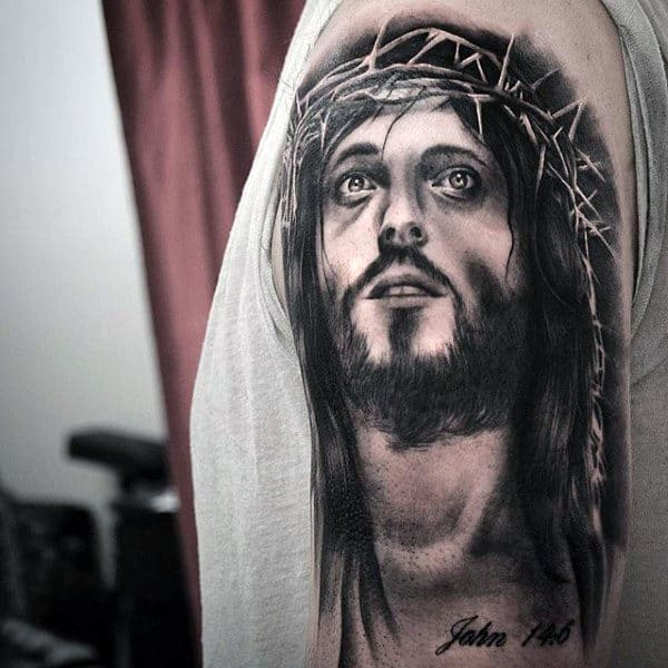 Guy With Black Ink Shaded Jesus Thorn Crown Upper Arm Tattoo