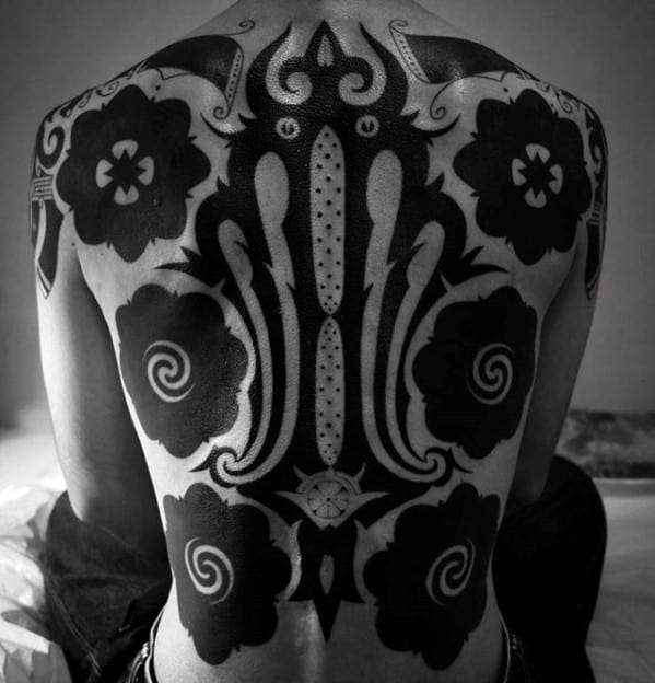 Guy With Blackwork Pattern Awesome Tribal Tattoo Design