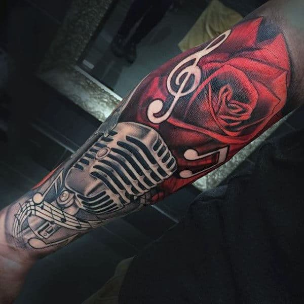 Guy With Blood Red Rose And Microphone Tattoo Full Sleeves
