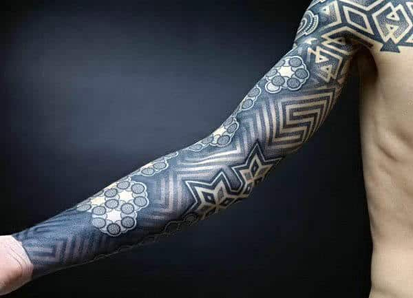 Guy With Blue Ink Pointillism Pattern Full Sleeve Tattoo