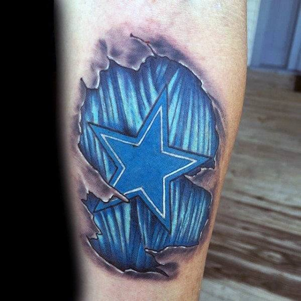 Guy With Blue Muscle 3d Star Tattoo Design