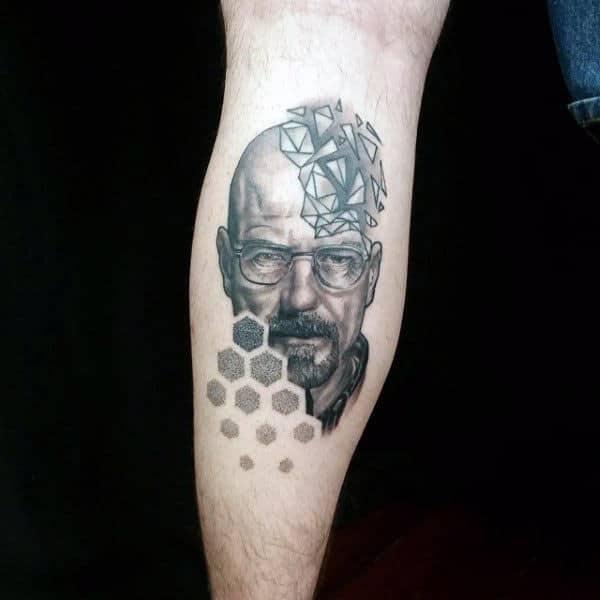 Guy With Breaking Bad Geometric Leg Calf Tattoo
