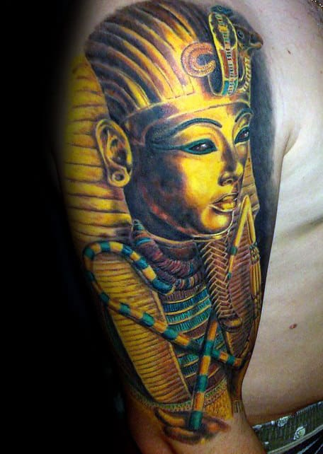 Guy With Bright Gold King Tut Half Sleeve Tattoo