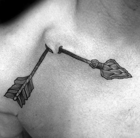 Guy With Broken Arrow Tattoo Design On Chest