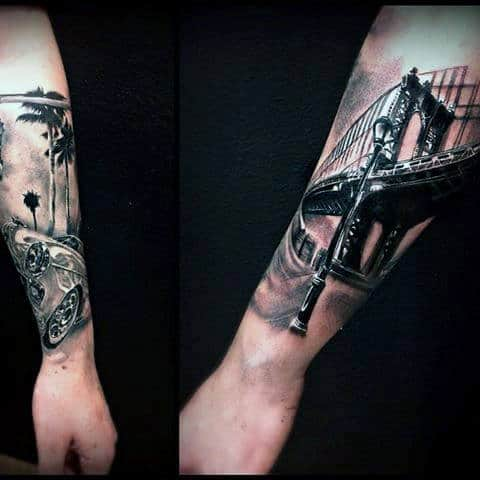 Guy With Brooklyn Bridge Forearm Tattoo With Black And White Ink Design