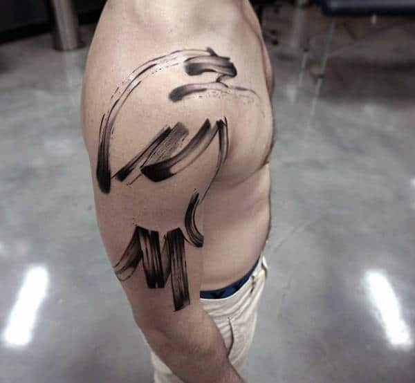 Guy With Brush Stroke Upper Arm Tattoo Designs