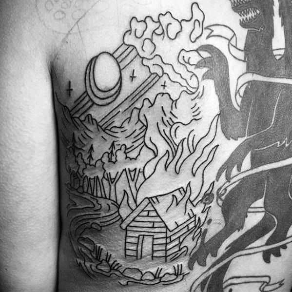 Guy With Cabin In The Woods River Tattoo Design On Back