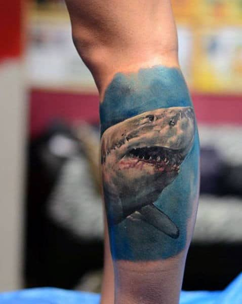 Guy With Calf Hammerhead Shark Tattoo