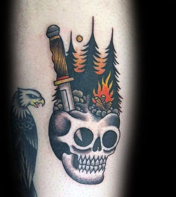 Guy With Camping Skull Arm Tattoo Design