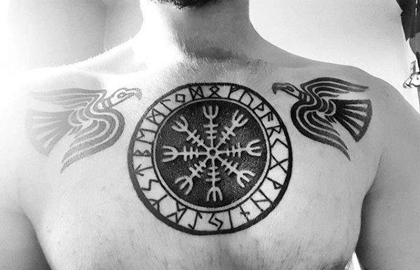 Guy With Chest Helm Of Awe Tattoo Design