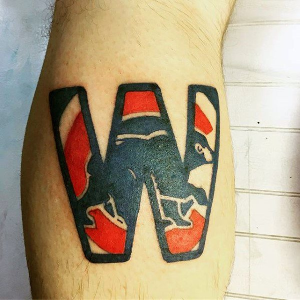 Guy With Chicago Cubs Tattoo Design On Leg Calf