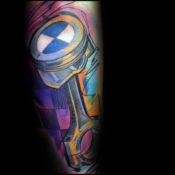 Guy With Colorful Forearm Sleeve Piston Bmw Tattoo