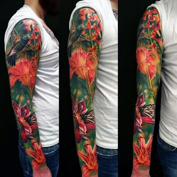 Guy With Colorful Hummingbird And Flower Full Sleeve Tattoo