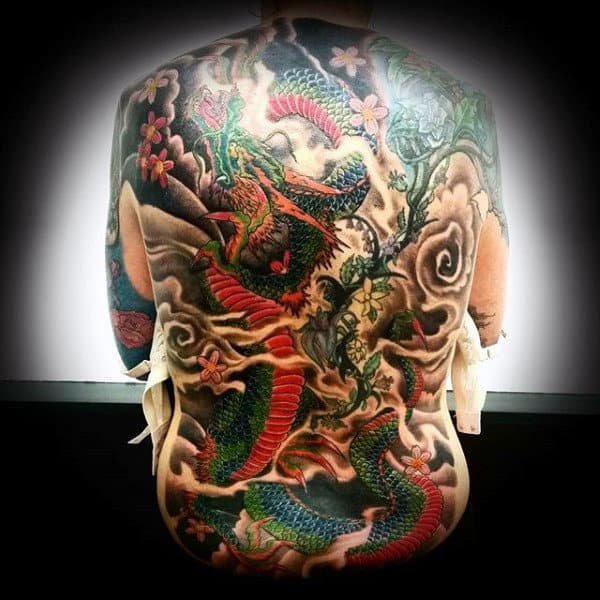 Guy With Colorful Serpent And Plants Tattoo Mens Full Back