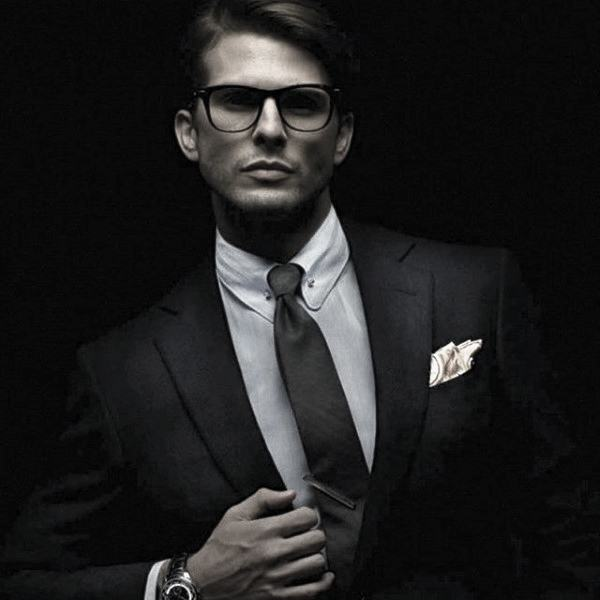 Guy With Cool Black Suit Clothing Style