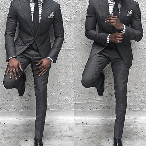 Guy With Cool Charcoal Grey Suit Black Shoes Clothing Style