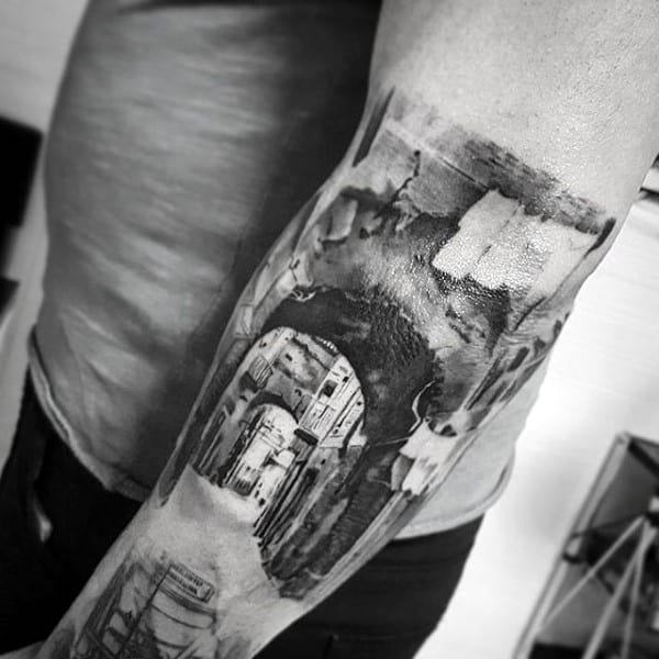 Guy With Cool City Street Lane Tattoo On Forearms