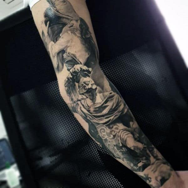 Guy With Cool Greek God Tattoo Full Sleeves