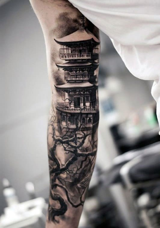 Guy With Cool Japanese Shaded Black And Grey Arm Tattoo