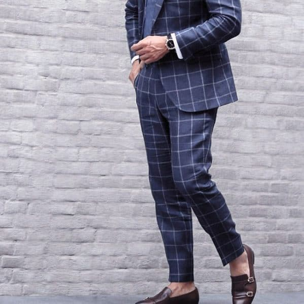 Guy With Cool Navy Blue Checkered Suit Brown Shoes Clothing Style