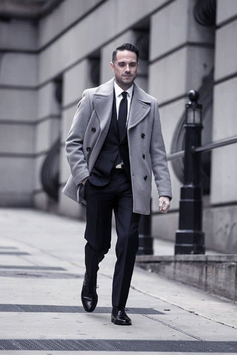 Guy With Cool Navy Blue Suit Black Shoes And Grey Coat Clothing Style