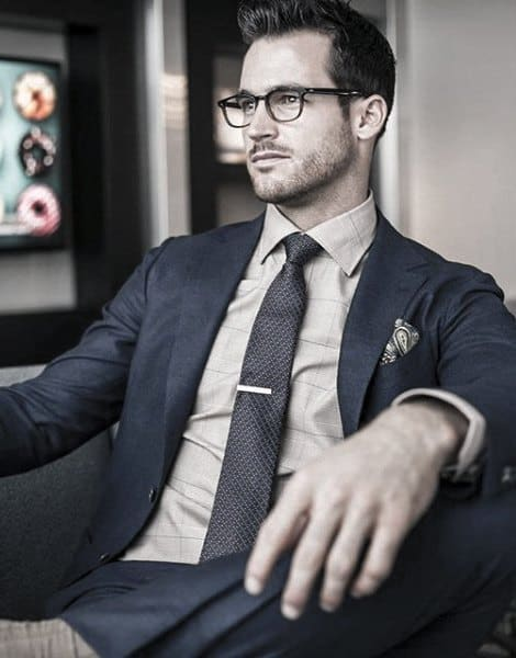 Guy With Cool Navy Blue Suit Clothing Style