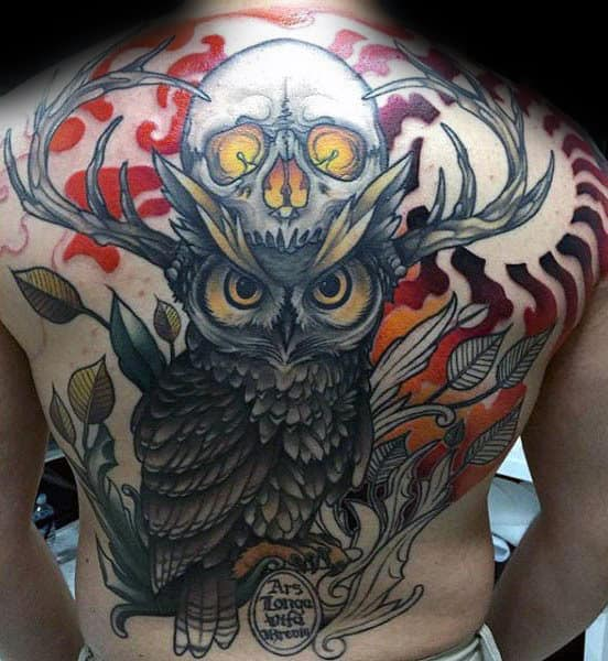 Guy With Cool Owl And Skull Back Tattoo Design
