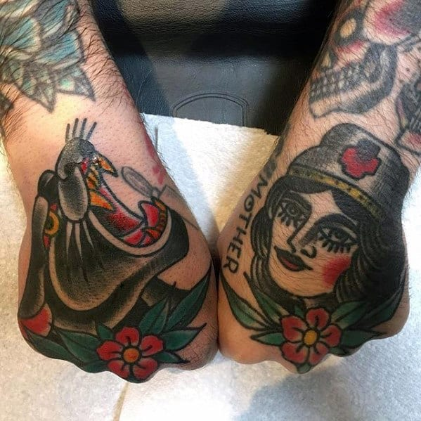 Guy With Cool Panther And Nurse Traditional Hand Tattoo