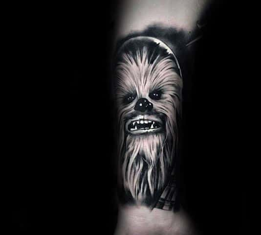 Guy With Cool Shaded Chewbacca Black And Grey Leg Sleeve Tattoo Design