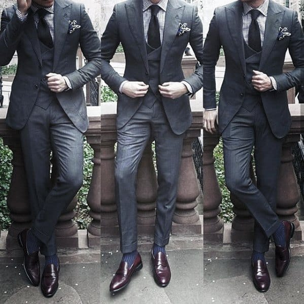 Guy With Cool Sophisitcated Charcoal Grey Suit Brown Shoes Clothing Style