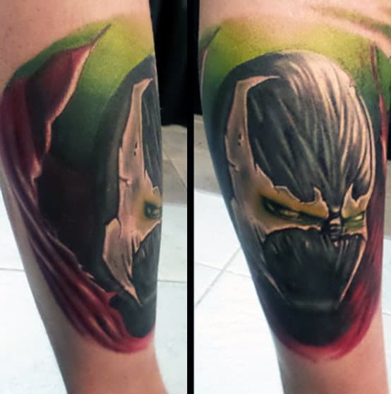 Guy With Cool Spawn Leg Tattoo