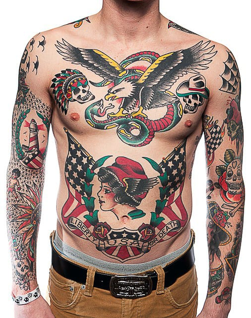 Guy With Cool Traditional Sleeve And Chest Tattoos