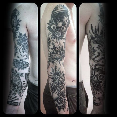 Guy With Cool Traditional Sleeve Tattoo With Black Ink Design