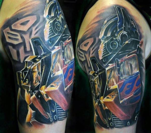 Guy With Cool Transformers Half Sleeve Tattoo Design