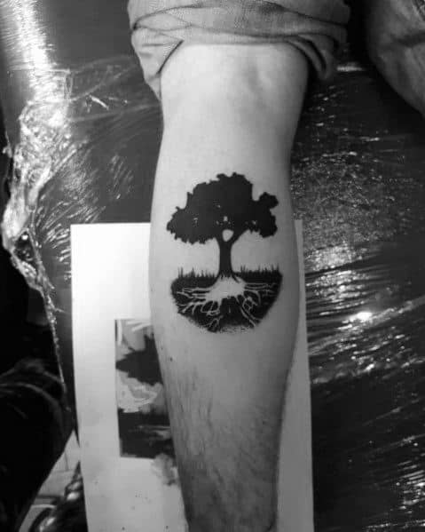 Guy With Cool Tree Roots Leg Calf Tattoo