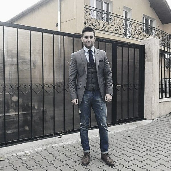 Guy With Cool Trendy Outfits Clothing Style Grey Blazer With Jeans