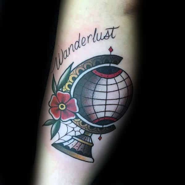 Guy With Cool Wanderlust Inner Arm Bicep Tattoo