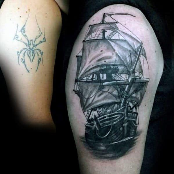 Guy With Cover Up Shaded Sailing Ship Arm Tattoos