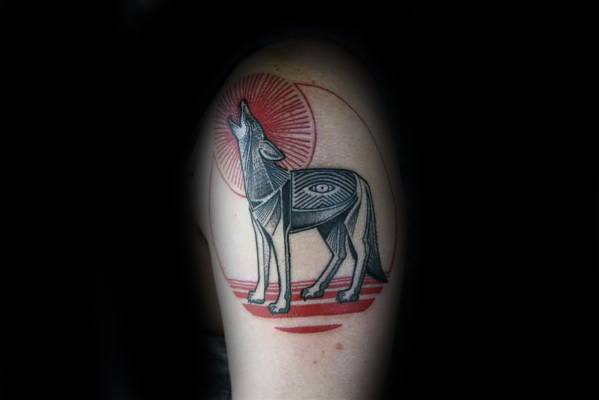 Guy With Coyote Tattoo Design
