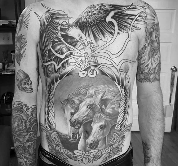 Guy With Crazy Horse And Eagle Full Chest Tattoo